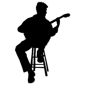 Acoustic Guitarist On Stool silhouette2